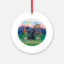 Pagoda / Black Pug Ornament (Round)