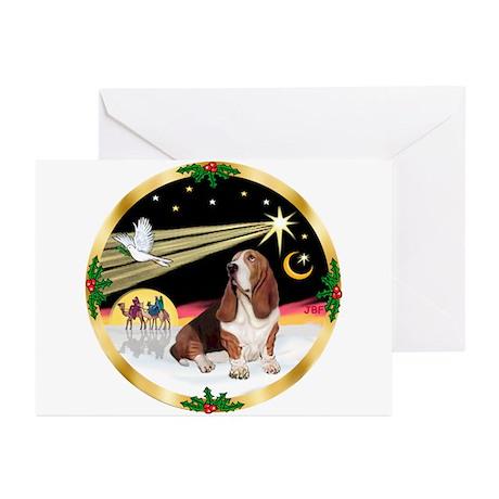XmasDove/Basset Hound Greeting Cards (Pk of 10)