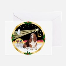 XmasDove/Basset Hound Greeting Cards (Pk of 20)