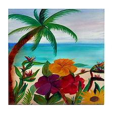 Tropical Beach Art Tile Coaster