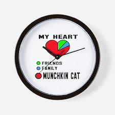 My heart friends, family Munchkin cat Wall Clock