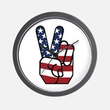 American Flag Peace Hand Wall Clock