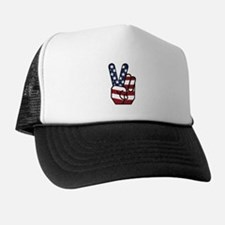 American Flag Peace Hand Trucker Hat
