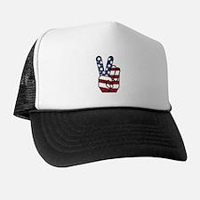 American Flag Peace Hand Trucker Hat