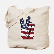 American Flag Peace Hand Tote Bag