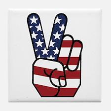 American Flag Peace Hand Tile Coaster