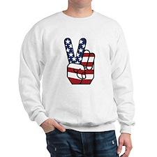 American Flag Peace Hand Sweatshirt