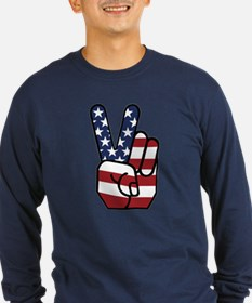 American Flag Peace Hand T