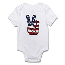 American Flag Peace Hand Infant Bodysuit