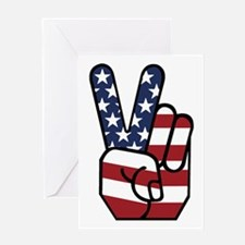 American Flag Peace Hand Greeting Card