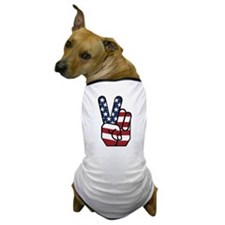 American Flag Peace Hand Dog T-Shirt