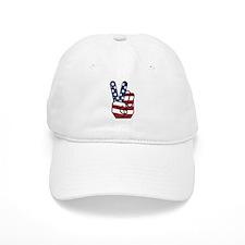 American Flag Peace Hand Baseball Cap