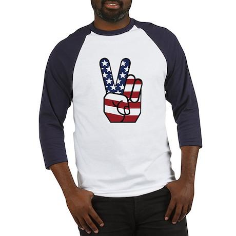 American Flag Peace Hand Baseball Jersey