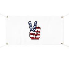 American Flag Peace Hand Banner