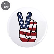 """American Flag Peace Hand 3.5"""" Button (10 pack"""