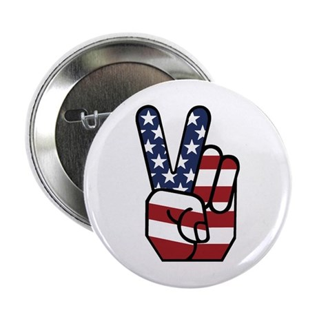 """American Flag Peace Hand 2.25"""" Button"""