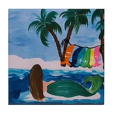 Laundry Day Mermaid Art Tile Coaster