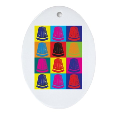 Sewing Pop Art Oval Ornament