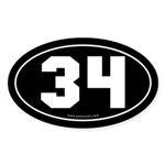 #34 Euro Bumper Oval Sticker -Black