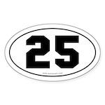 #25 Euro Bumper Oval Sticker -White