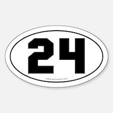 #24 Euro Bumper Oval Sticker -White