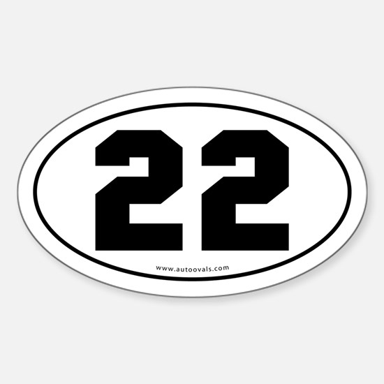 #22 Euro Bumper Oval Sticker -White