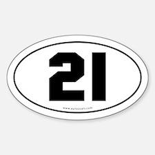 #21 Euro Bumper Oval Sticker -White