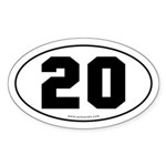#20 Euro Bumper Oval Sticker -White