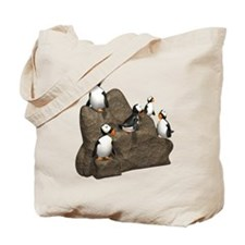 Penguins on Rock Tote Bag