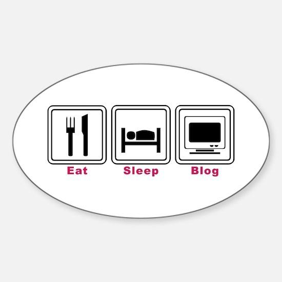 Eat Sleep Blog Oval Decal