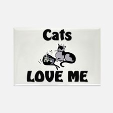 Cats Love Me Rectangle Magnet