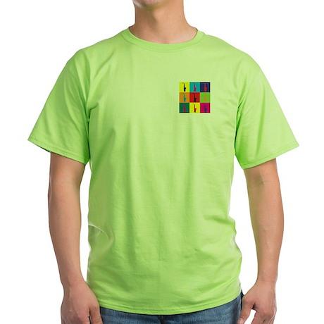 Saxophone Pop Art Green T-Shirt