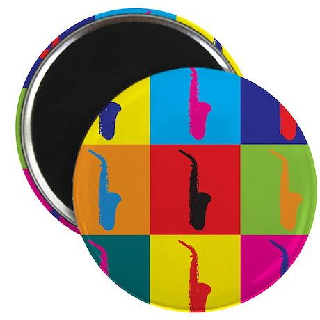 "Saxophone Pop Art 2.25"" Magnet (10 pack)"