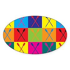 Rowing Pop Art Oval Bumper Stickers
