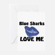 Blue Sharks Love Me Greeting Cards (Pk of 10)