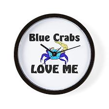 Blue Crabs Love Me Wall Clock