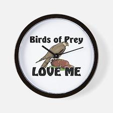 Birds Of Prey Love Me Wall Clock