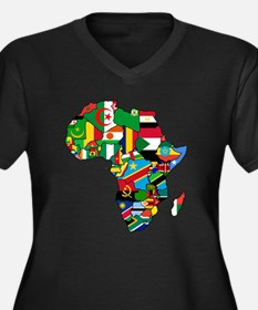 Flags of Africa Women's Plus Size V-Neck Dark T-Sh