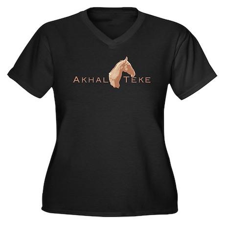 Akhal Teke Horse Women's Plus Size V-Neck Dark T-S
