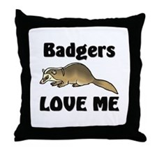 Badgers Love Me Throw Pillow