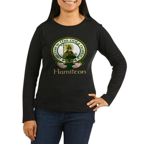 Hamilton Clan Motto Women's Long Sleeve Dark T-Shi