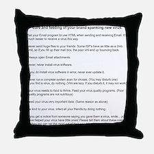 Virus Care Instructions Throw Pillow
