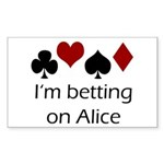 Betting on Alice Rectangle Sticker
