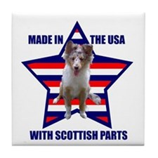Patriotic Blue Merle Sheltie Tile Coaster
