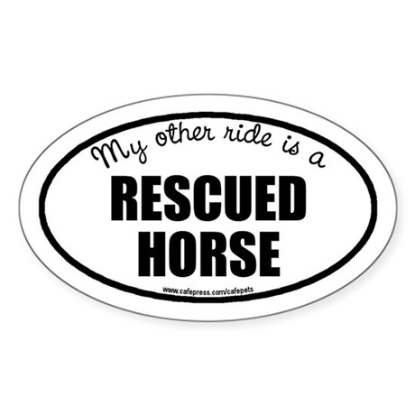 Rescued Horse Oval Sticker