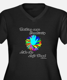 Left Handed Creativity Women's Plus Size V-Neck Da