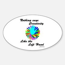 Left Handed Creativity Sticker (Oval)