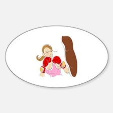 Angry Female Boxer Oval Decal