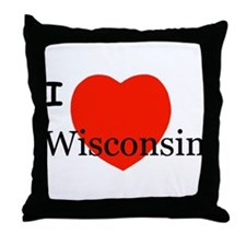 I Love Wisconsin! Throw Pillow