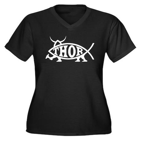 Thor Fish Women's Plus Size V-Neck Dark T-Shirt